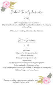 family portrait and sitter session prices in oswestry