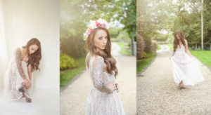 boho bride with flower headband oswestry