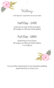 wedding photography prices oswestry shropshire