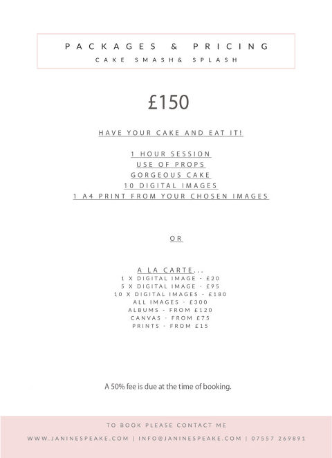 cake smash prices oswestry 1st birthday