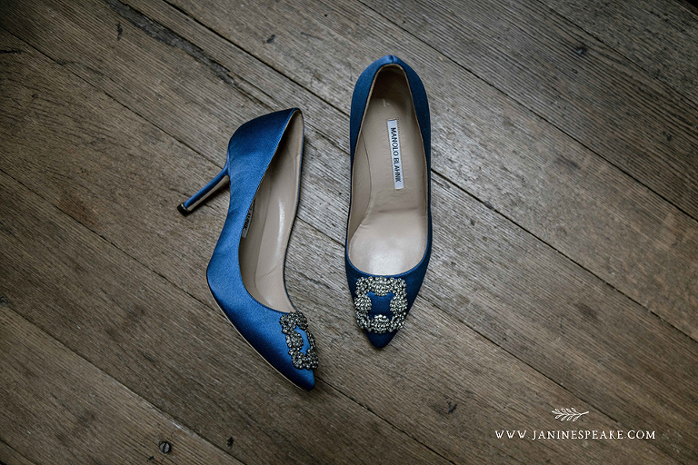 Manolo Blahnik blue carrie shoes